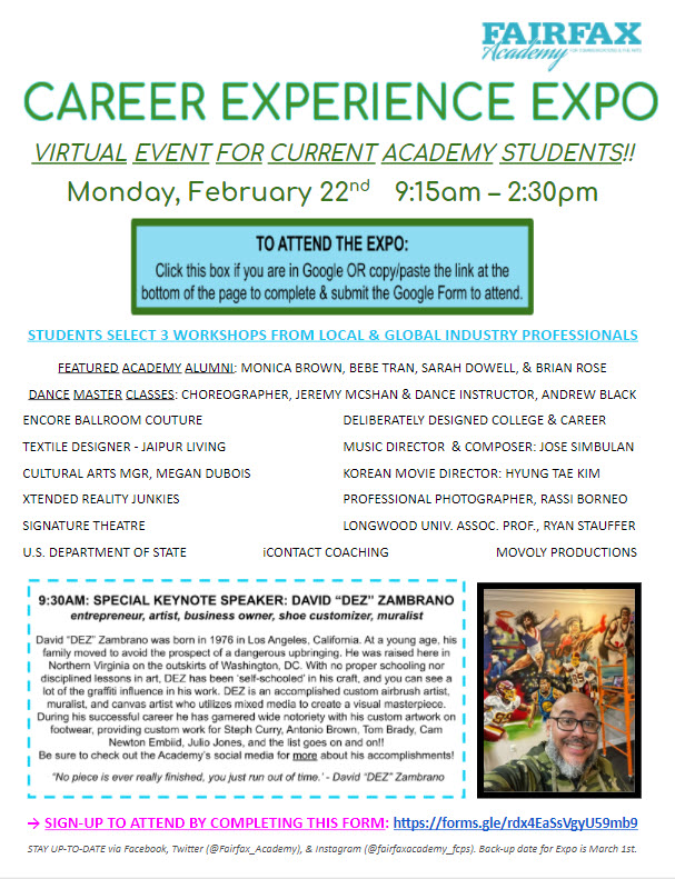 Career Experience Expo event for current students February 22, 2021