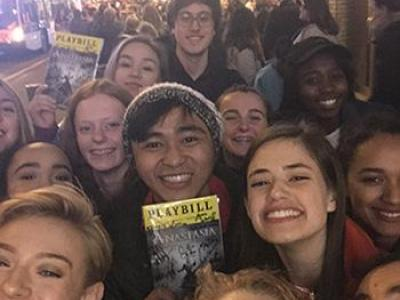 Students took in a Broadway play while in New York.